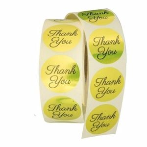 100 pieces gold label thankyou stickers